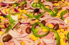 Skivat grönsaker och kött Arkivfoton