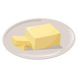 Skivat margarinkvarter Stekhet ingredienssmörpinne royaltyfri illustrationer
