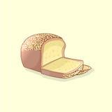Skivat nytt bröd också vektor för coreldrawillustration Fotografering för Bildbyråer