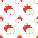 Skivat rött äpple med bladet Fotografering för Bildbyråer