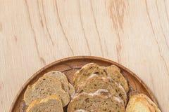 Skivat rutic bröd för fread arkivfoto