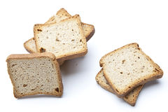 Skivor av bröd som isoleras på vit Arkivbilder