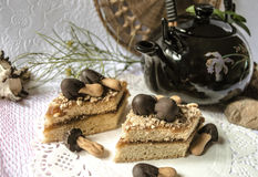 Skivor av den ljusbruna kakan med chokladchampinjoner Arkivfoton