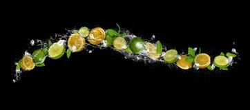 Skivor av limefrukt och citronen som faller i vattenfärgstänk på svart backgr royaltyfri bild