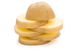 Skivor av potatisen staplar upp royaltyfria bilder