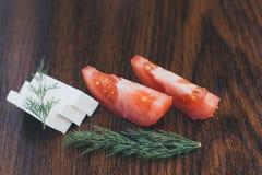 Skivor av tomaten och ost Royaltyfria Foton