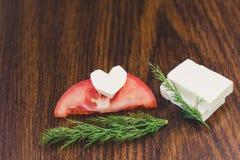 Skivor av tomaten och ost Arkivfoto