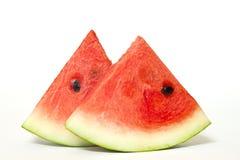 Skivor av vattenmelon som isoleras på vit Arkivbilder