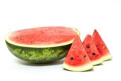 Skivor av vattenmelon som isoleras på vit bakgrund. Royaltyfria Bilder