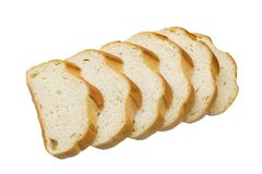 Skivor av vitt bröd som isoleras på vit bakgrund fotografering för bildbyråer