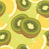 Skivor mogen apelsin och kiwi. Sömlös backgr Royaltyfri Bild