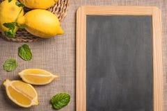 Skivor och den halva nya saftiga citronen med mintkaramellsidor och kritiserar boaen fotografering för bildbyråer