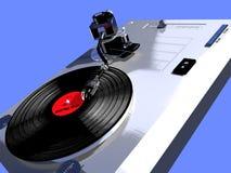 Skivspelare med en roterande vinyl Arkivbild