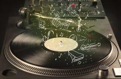 Skivtallrik som spelar klassisk musik med symbol drog instrument Arkivbilder