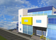 Skizze 3D mit Teil modernem Gebäude Stockfotos
