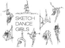 Skizze ance Mädchen Stellen Sie Schattenbilder des Frauentanzens, Linie Kunst ein Handdrawn Skizze der Tanzenfrau Stockfotografie