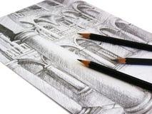 Skizze auf Papier lizenzfreies stockbild