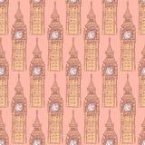 Skizze Big Ben, vector nahtloses Muster Stockbilder