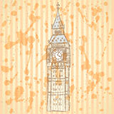 Skizze Big Ben, Vektorhintergrund ENV 10 Stockfoto