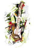 Skizze der elektrischen Gitarre Stockbilder