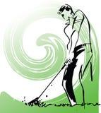 Skizze der Golfspielerabbildung stock abbildung