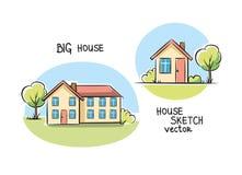 Skizze der Hausarchitektur Stockfotografie