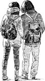 Skizze der jungen Paare Stockfoto