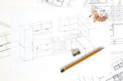 Skizze der Küchemöbel stockfotografie