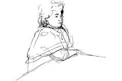 Skizze der kompletten Frau, die an einem Tisch ist stock abbildung