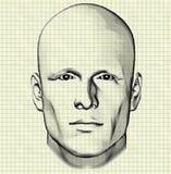 Skizze der Männerfigur auf Zeichenpapier mit Maßeinteilung Stockfoto