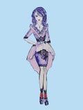 Skizze der modischer Kleidung Stockfotografie