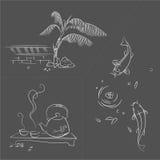 Skizze der orientalischen Gartenlebenszene. Stockbild