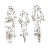 Skizze der radfahrenden Familie Stockfoto