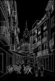 Skizze der Straße von Sitges Lizenzfreies Stockbild