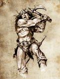 Skizze der Tätowierungkunst, Kriegerkämpfen Lizenzfreies Stockfoto