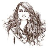 Skizze der Tätowierungskunst, portret des reizenden indianischen Mädchens Stockbild