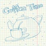 Skizze der Teekanne in einem Schreibenbuch. Stockbild