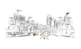 Skizze der Verkehrsstraße in der Stadt für Ihren Entwurf Lizenzfreie Stockfotos