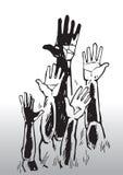 Skizze der wellenartig bewegenden Hände Stockfotografie