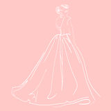 Skizze der Zahl der Frau auf rosa Hintergrund Stockfotos