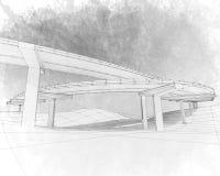 Skizze der Zwei-Ebenenlandstraße. Stockbilder
