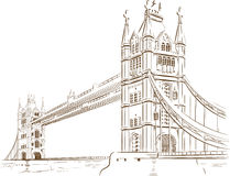 Skizze des britischen Tourismus-Marksteins - London-Brücke Lizenzfreies Stockfoto