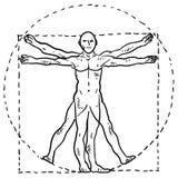 Skizze des Da- Vincimenschlichen Körpers Stockfotos