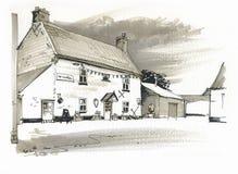 Skizze des Gasthauses, Norfolk, Großbritannien Stockbilder