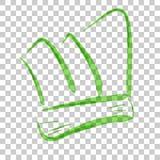Skizze des grünen Aquarell-Chefs Hat, am transparenten Effekt-Hintergrund Stockfotos