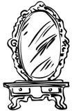 Skizze des großen Spiegels auf einer Kleidentabelle vektor abbildung