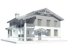 Skizze des Häuschens mit mit Ziegeln gedecktem Dach Lizenzfreie Stockfotografie