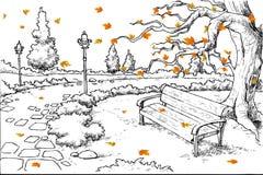 Skizze des Herbst-Hintergrundes Stockfotos