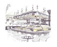 Skizze des Kaffeinnenraums Lizenzfreie Stockfotos