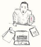 Skizze des Mannes mit Telefonaufmerksamkeit gezeichnet Stockfoto